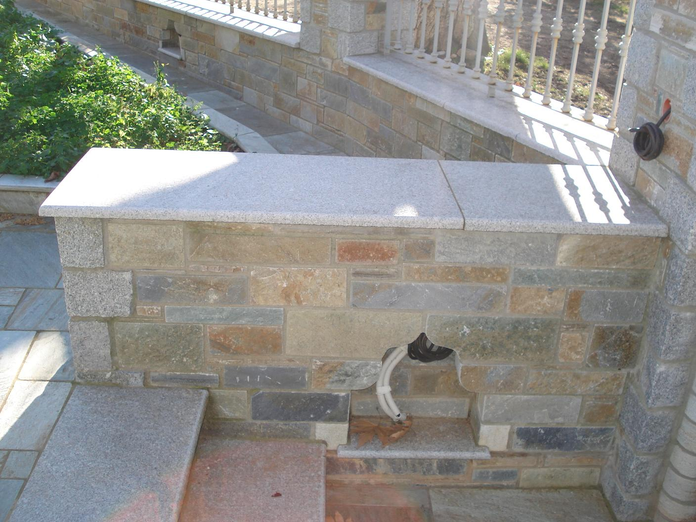 Grey granite stair tiles