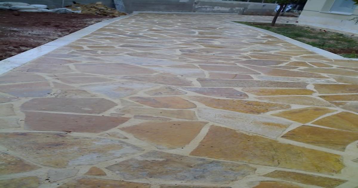Beige polygonal slates or Albanian